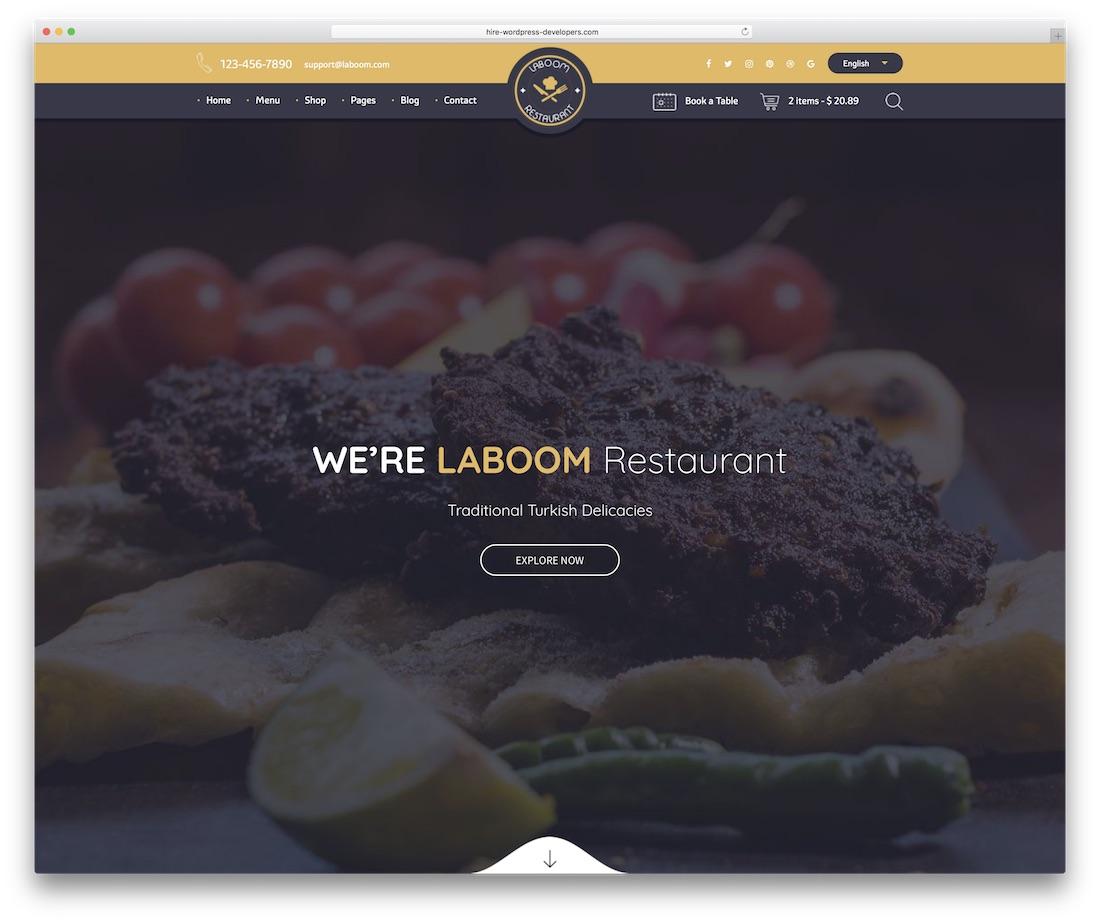 la boom food website template
