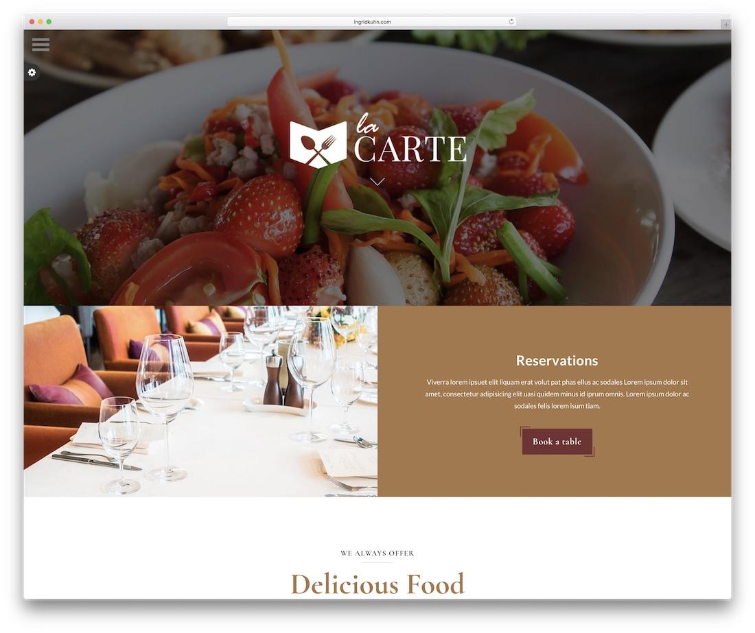 la carte food website template