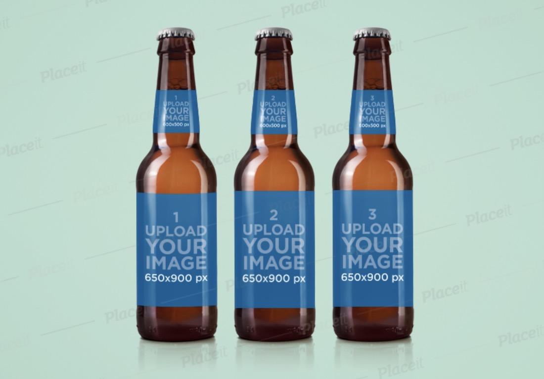 label mockup featuring three beer bottles