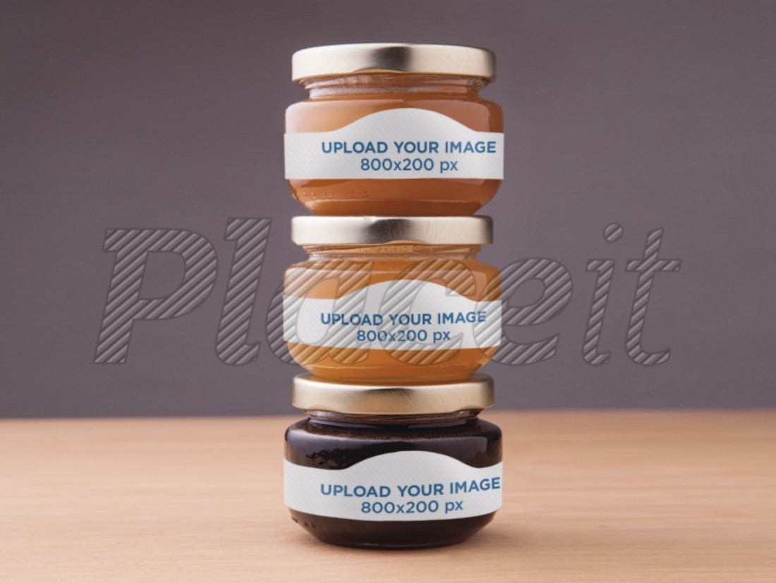 label mockup featuring three jars of honey