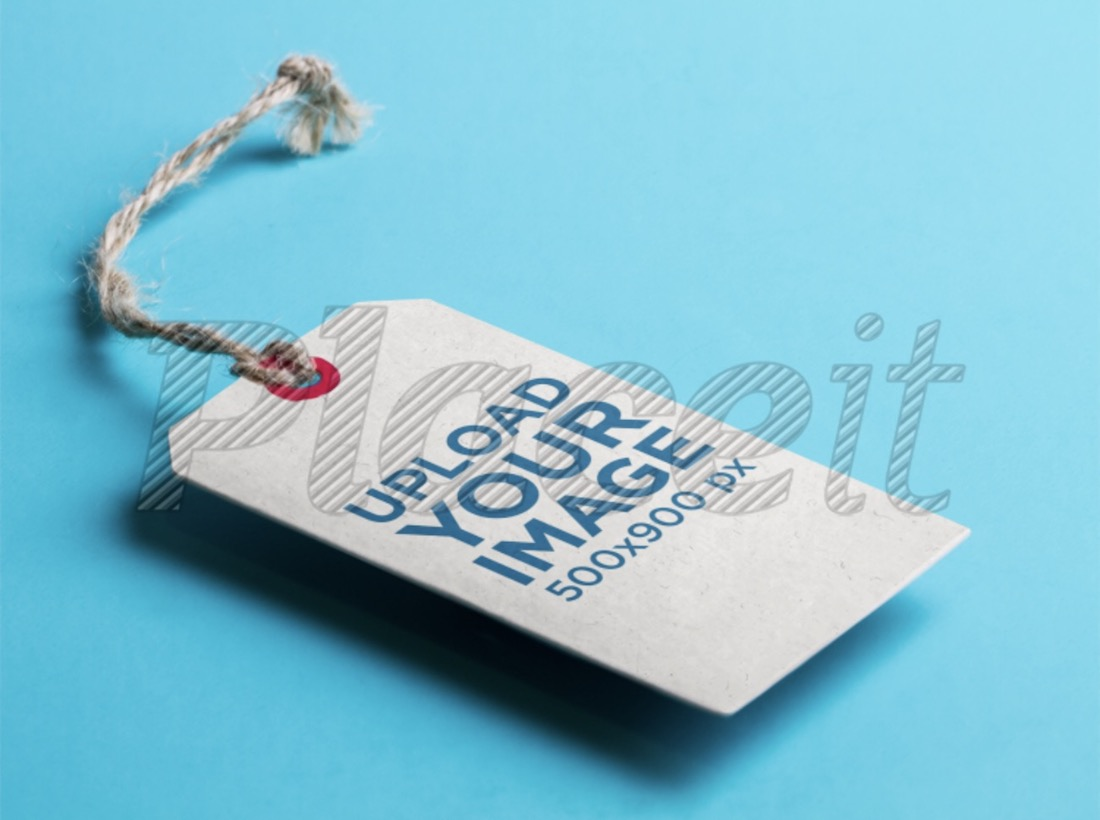 label tag mockup over a flat surface