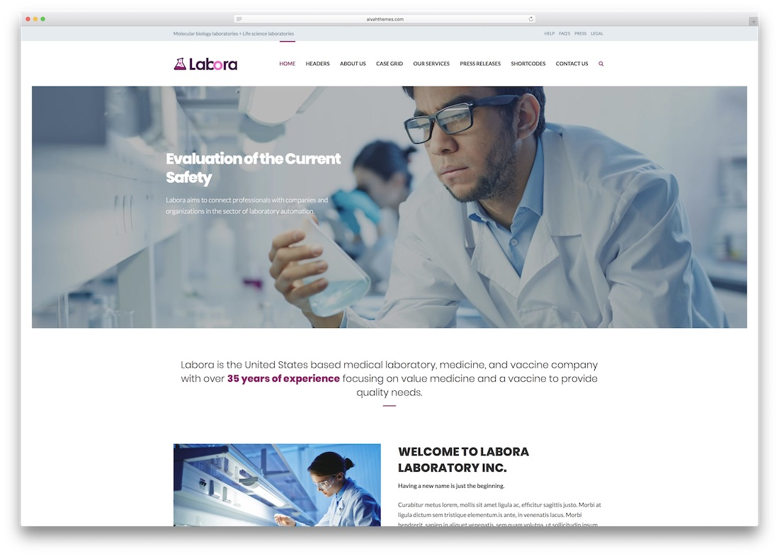 labora medical website template