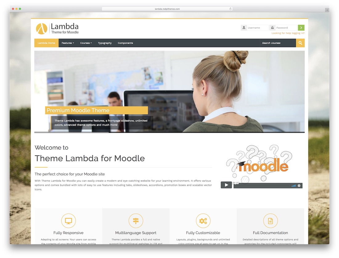 lambda moodle bootstrap template