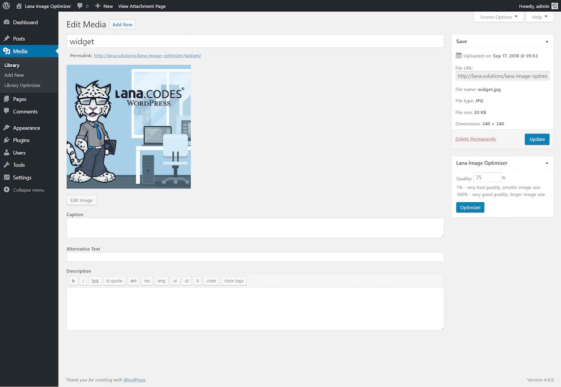 lana image optimizer for wordpress