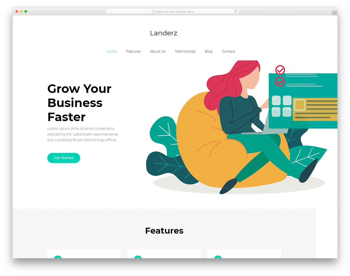 Скачать бесплатно html шаблон Landerz