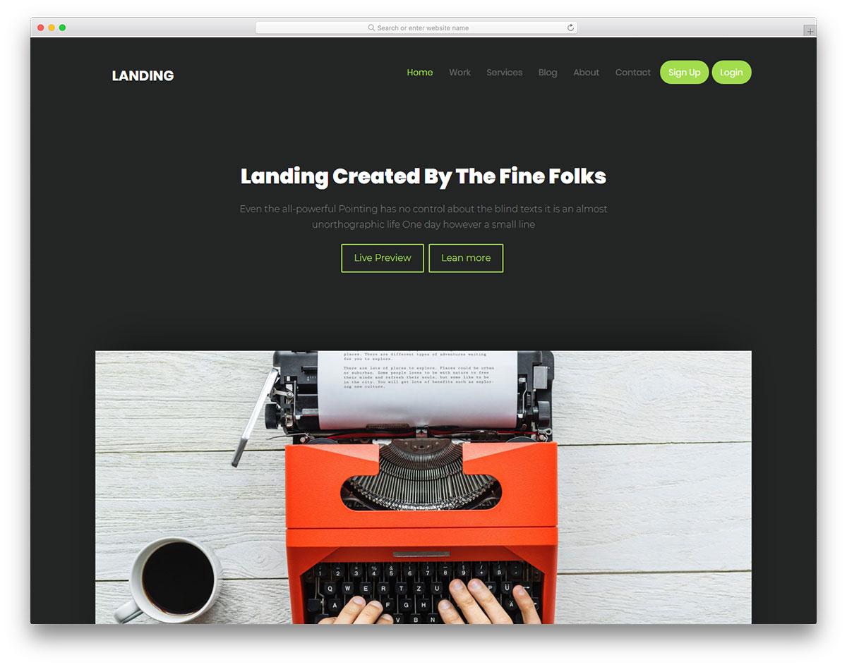 Скачать бесплатно html шаблон Landing