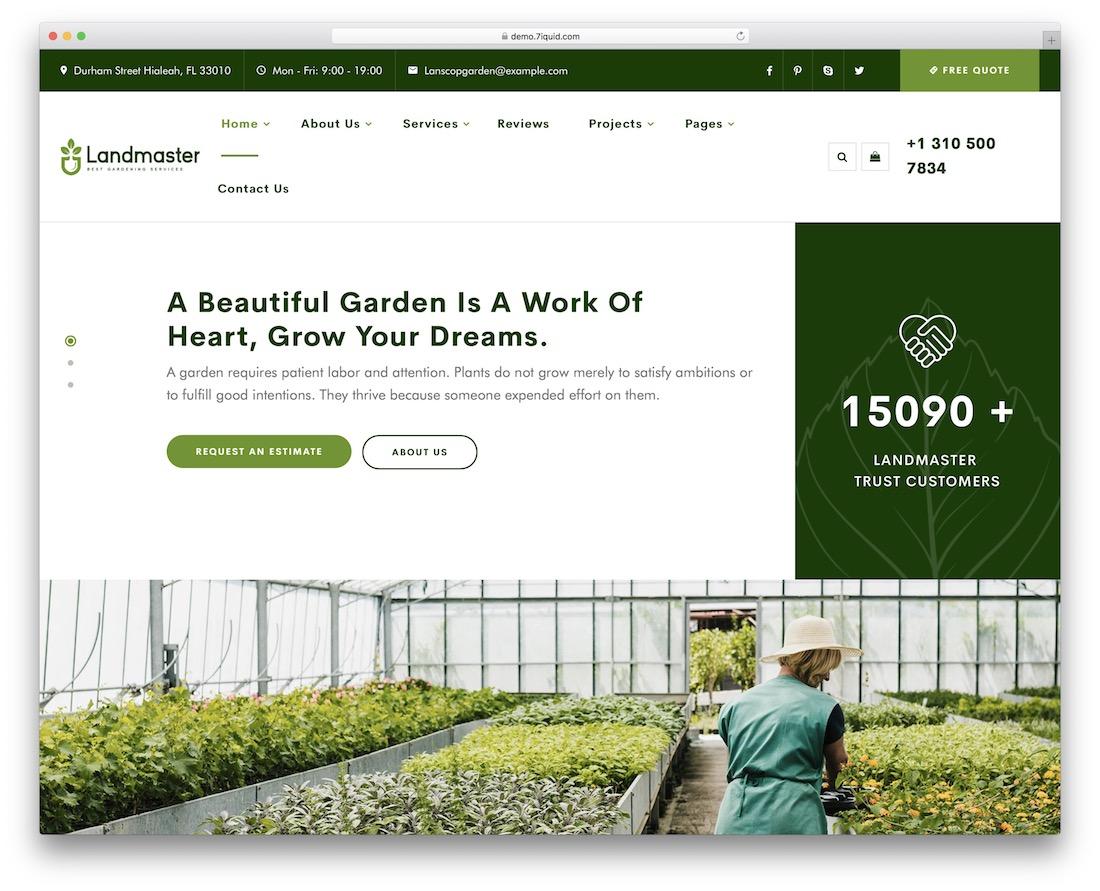 landmaster gardening landscaping wordpress theme