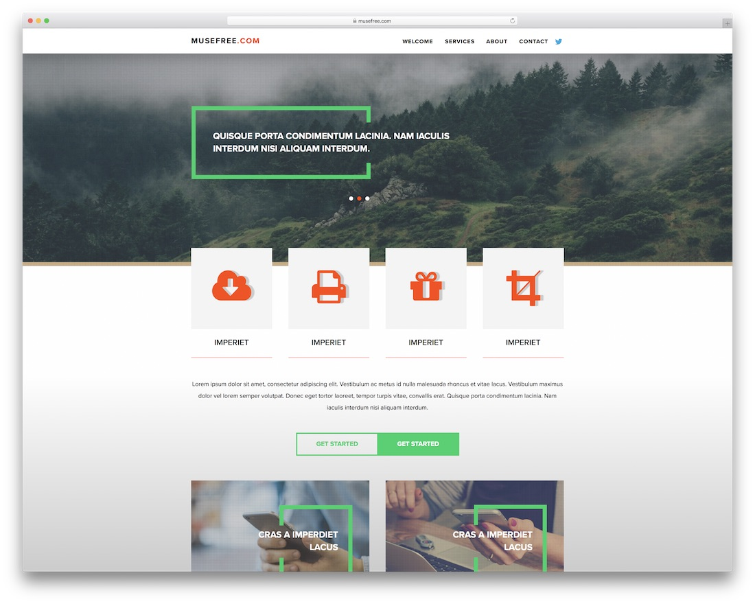 landpage free adobe muse template