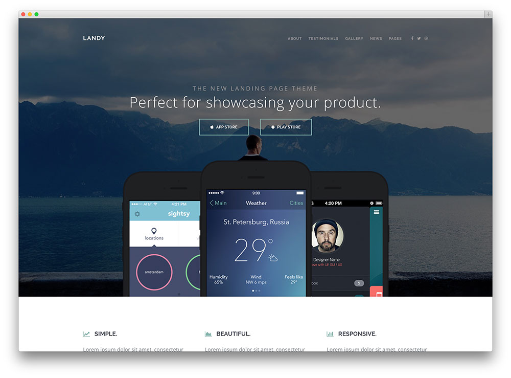 landy - beautiful app landing page template