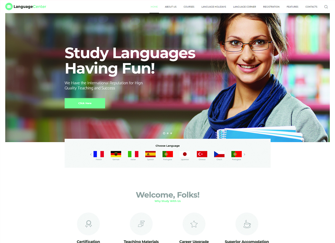 Language Center & Online School WordPress Theme