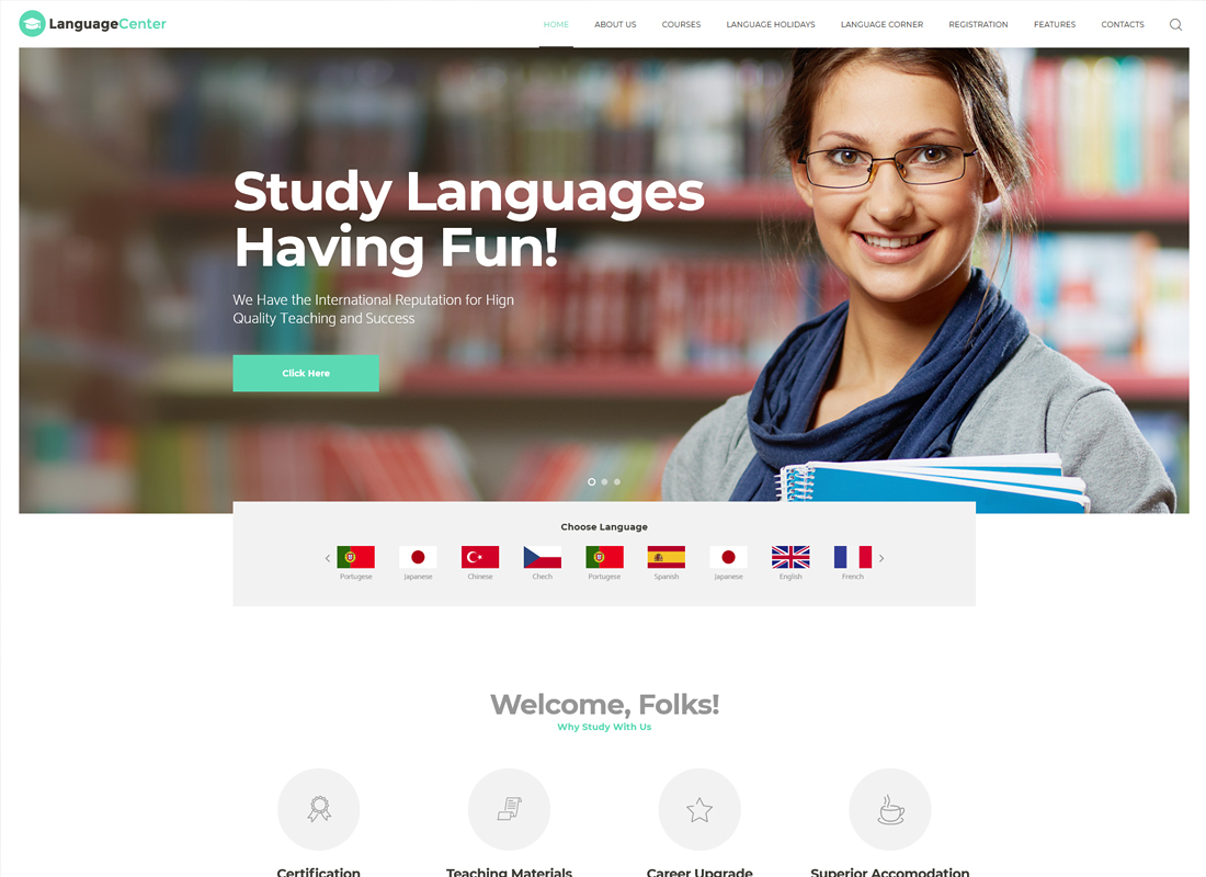 Language Center | Education Center & Online School WordPress Theme