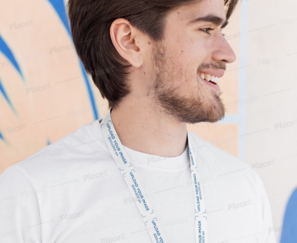 lanyard mockup of a bearded man against a colorful wall