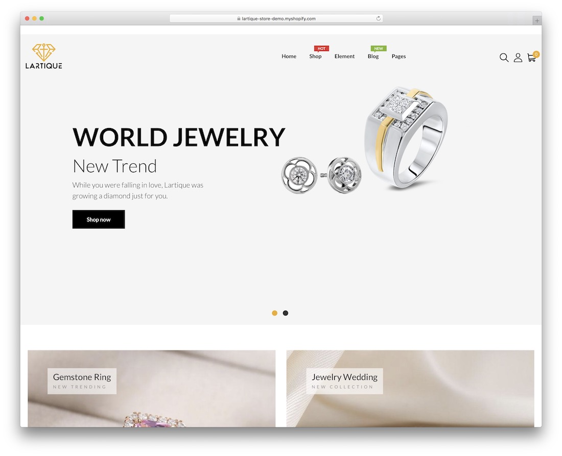 lartique shopify jewelry theme