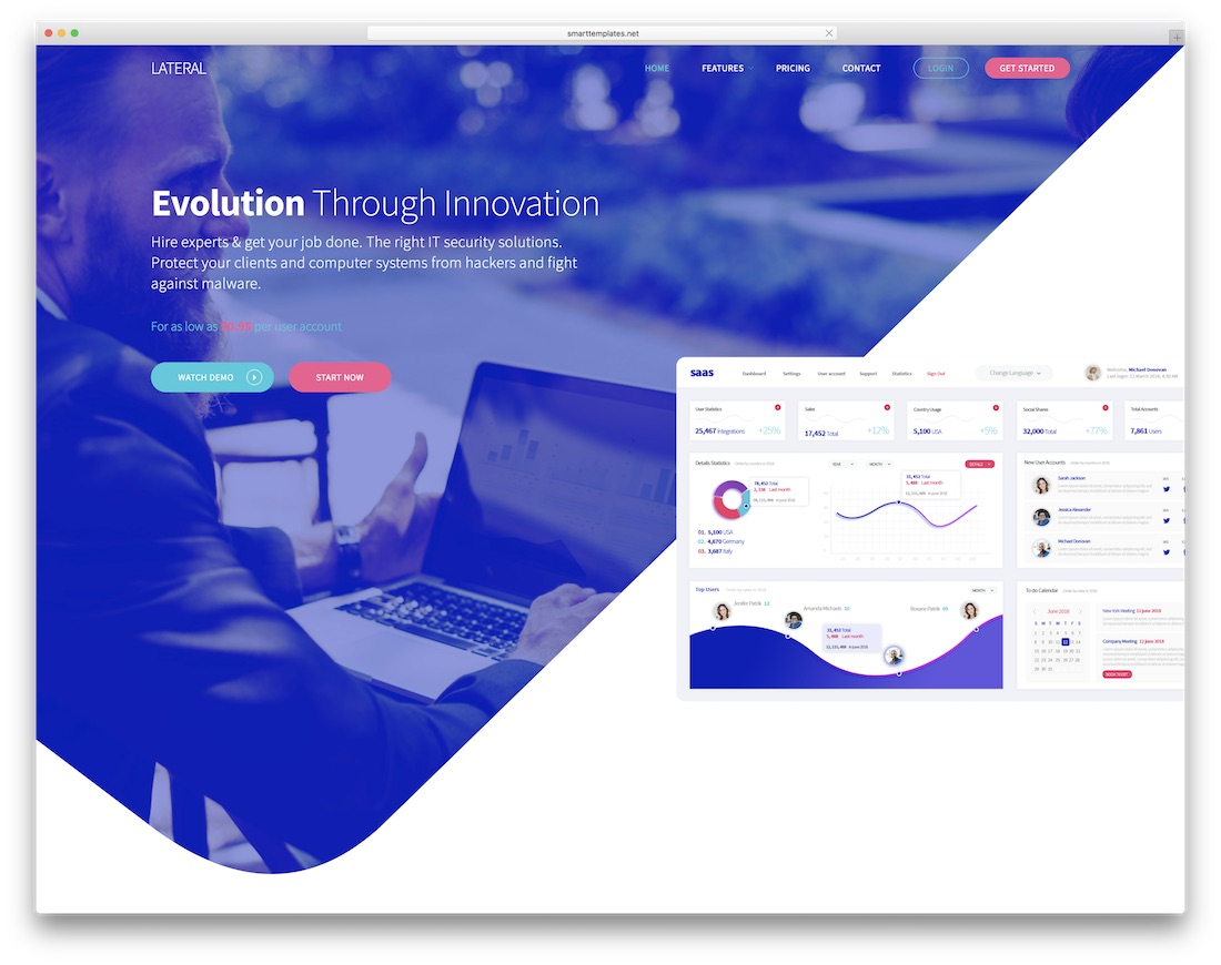 lateral interactive website template