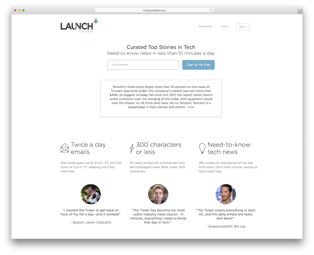 launch ticker business newsletter