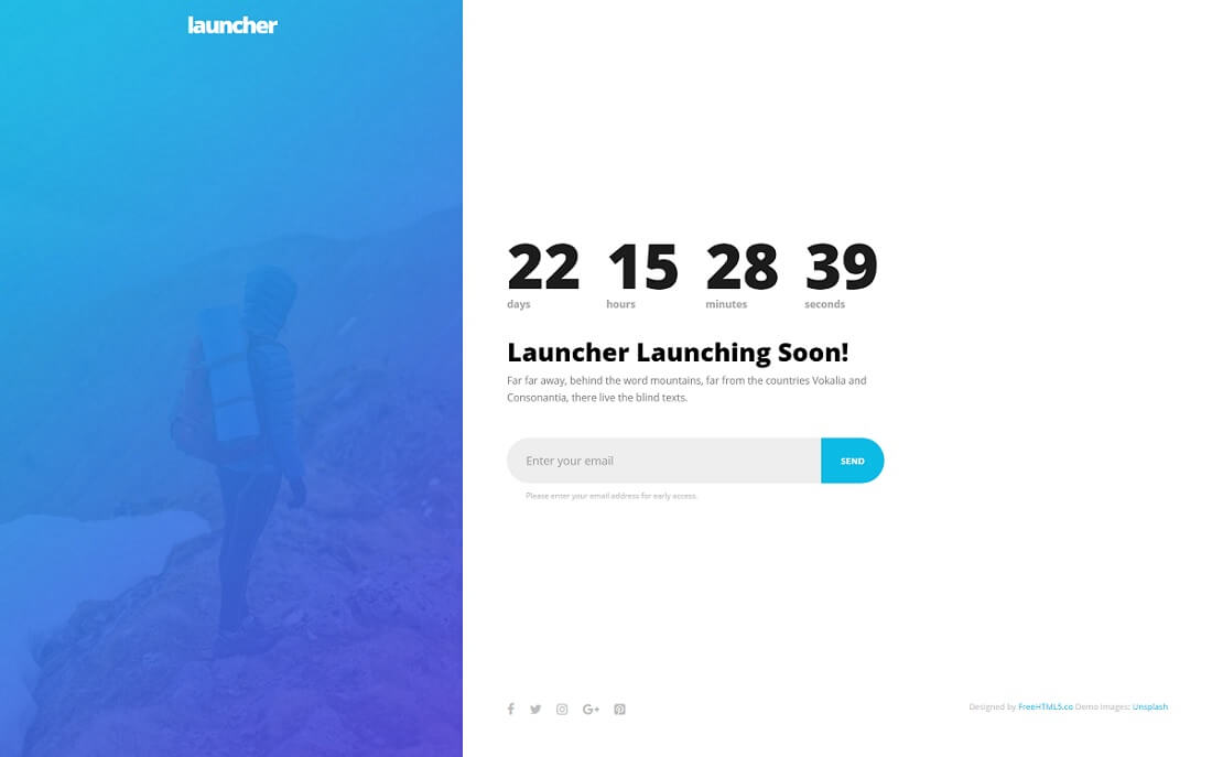 launcher free HTML website template