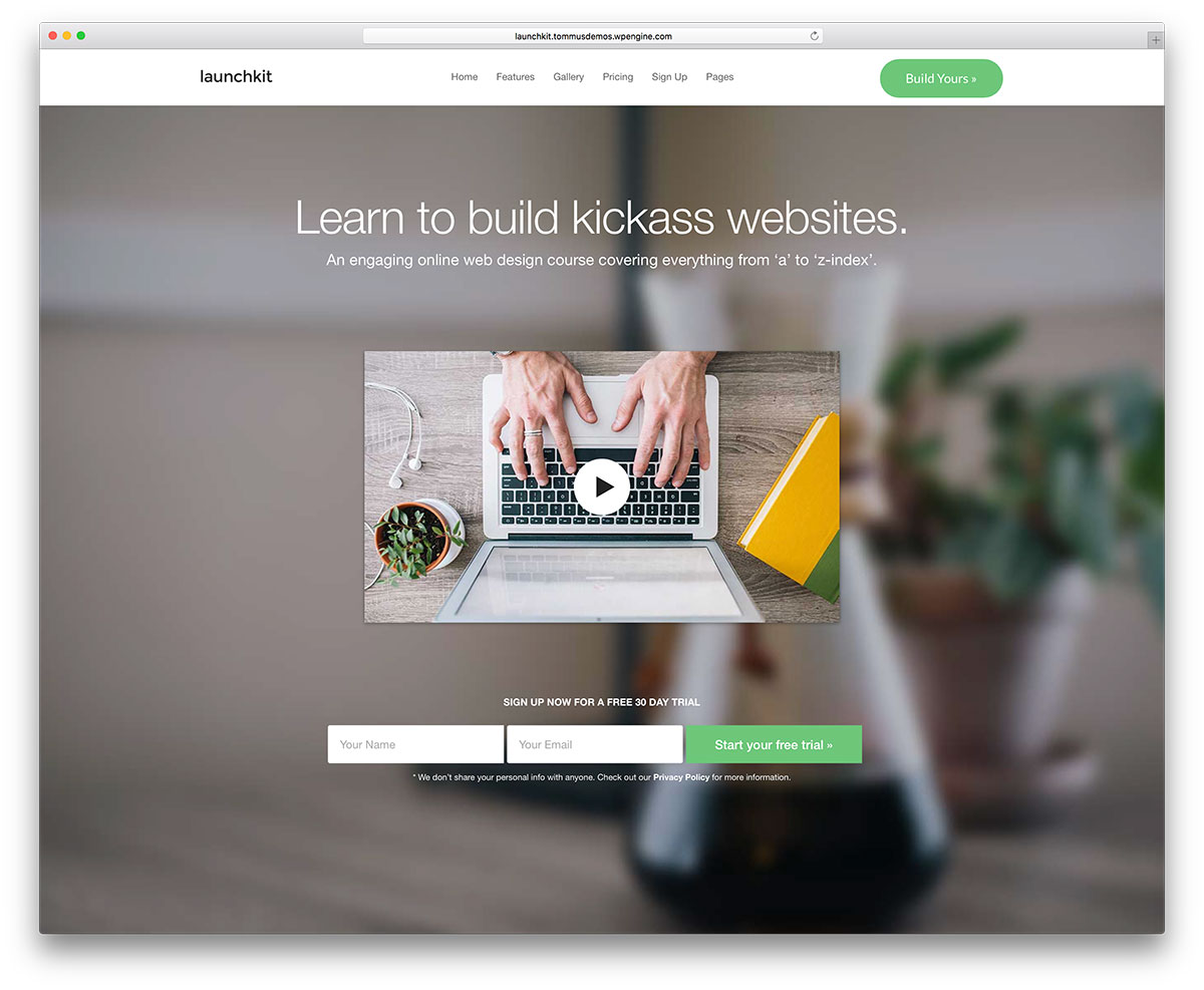 To build and promote a website and save it with the free information - Launchkit Enline Course Landing Page Template