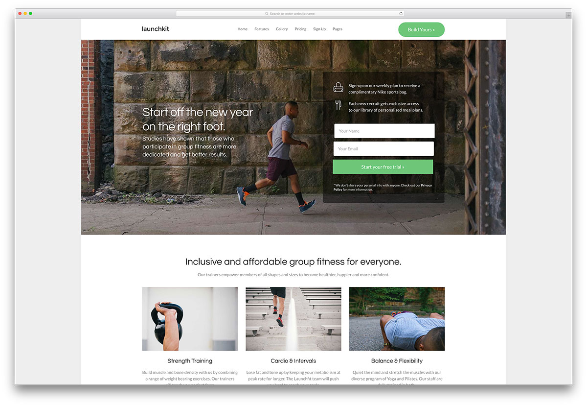 20 best wordpress fitness themes 2017 for gym and fitness centers launchkit fitness website template pronofoot35fo Images