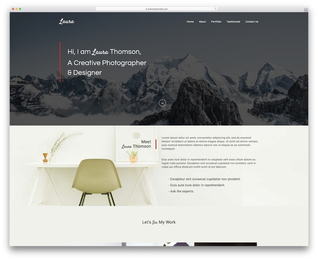 laura website template