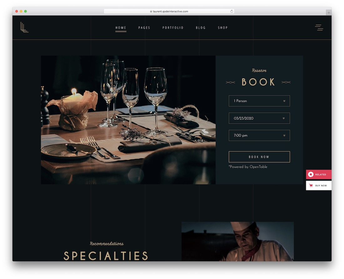 laurent wordpress restaurant theme