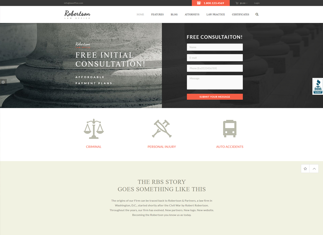 Law Office - A Lawyers Attorneys Legal Office WordPress Theme + RTL