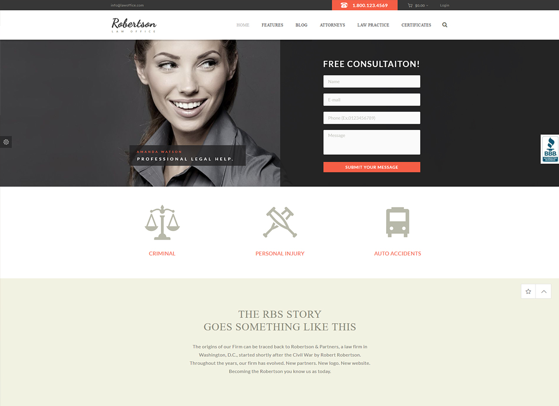 Law Office | A Lawyers Attorneys Legal Office WordPress Theme + RTL