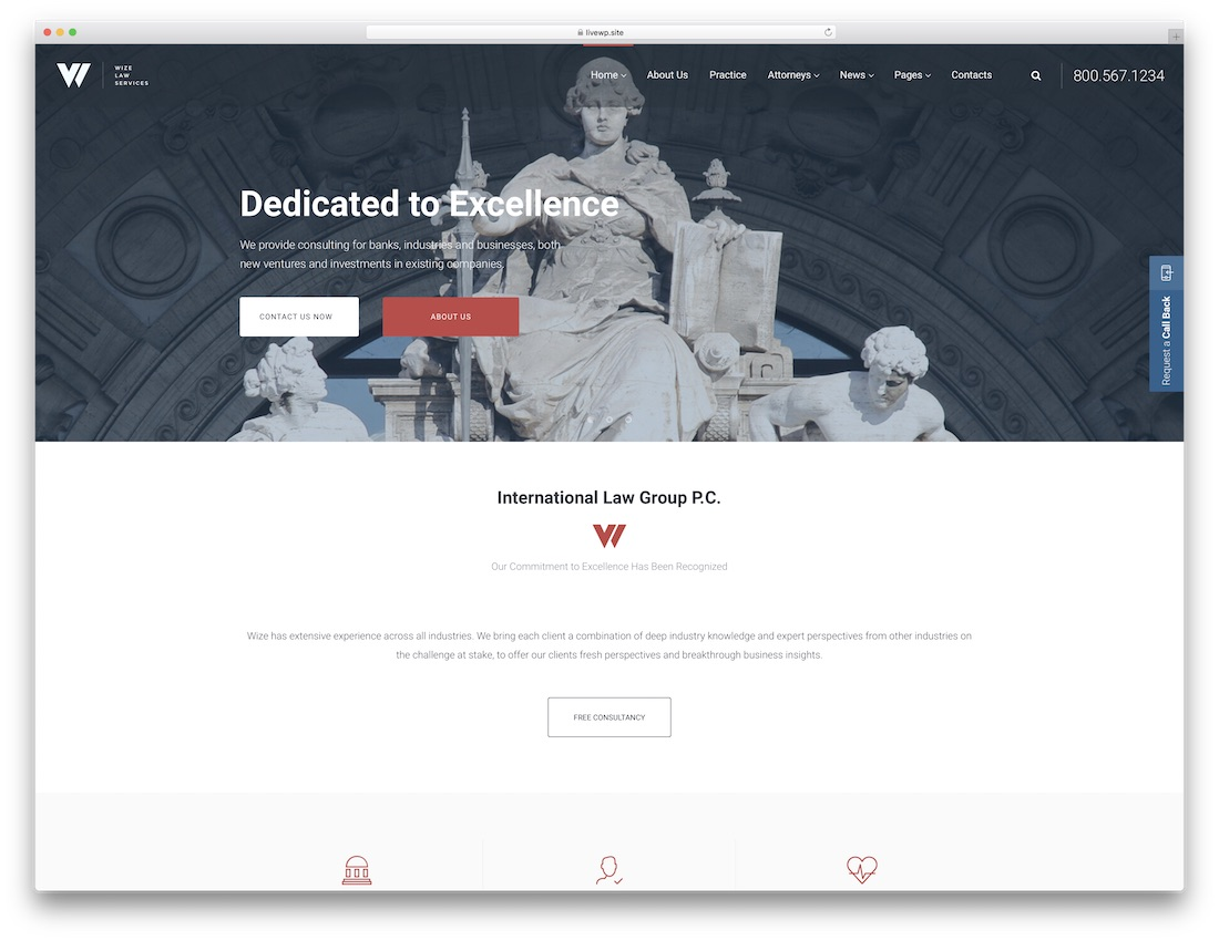 law service website template