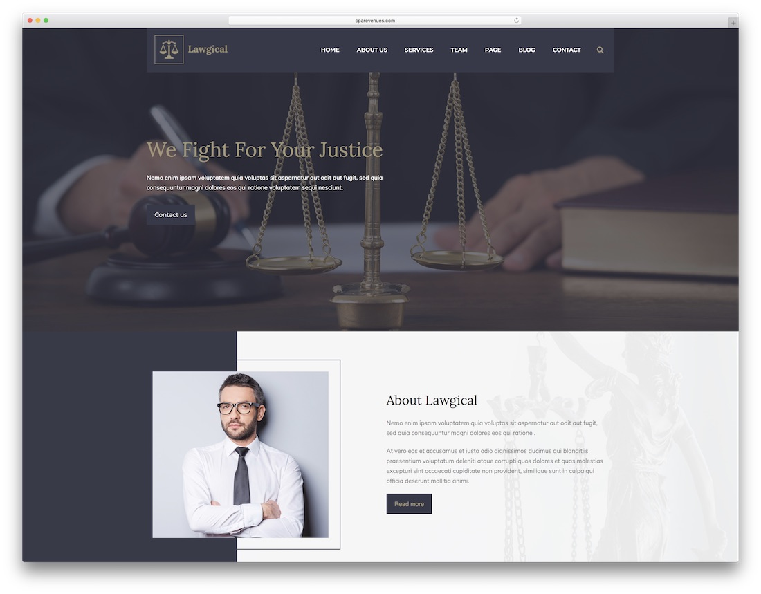 lawgical lawyer website template