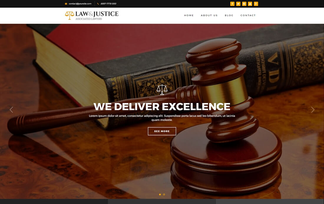 lawjustice HTML lawyer website template