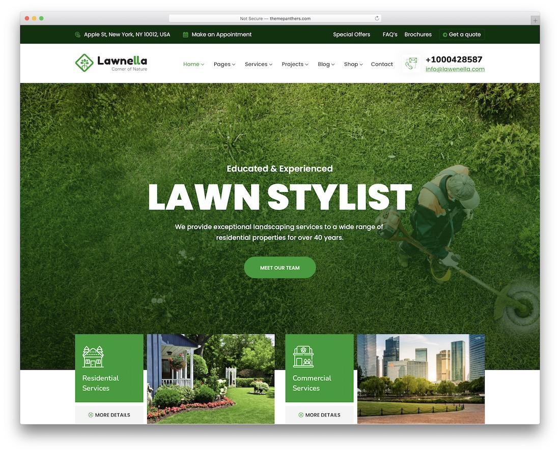 lawnella landscaping wordpress theme