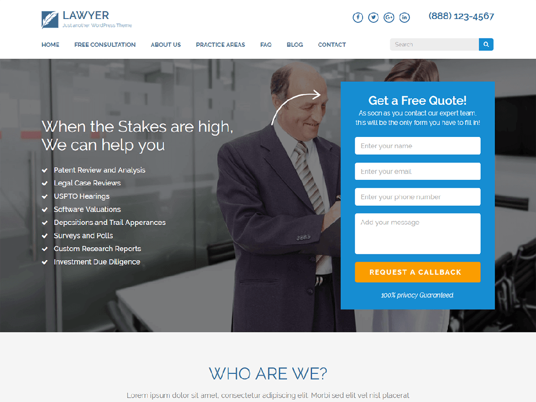 Lawyer Landing Page WordPress Theme for Law Websites