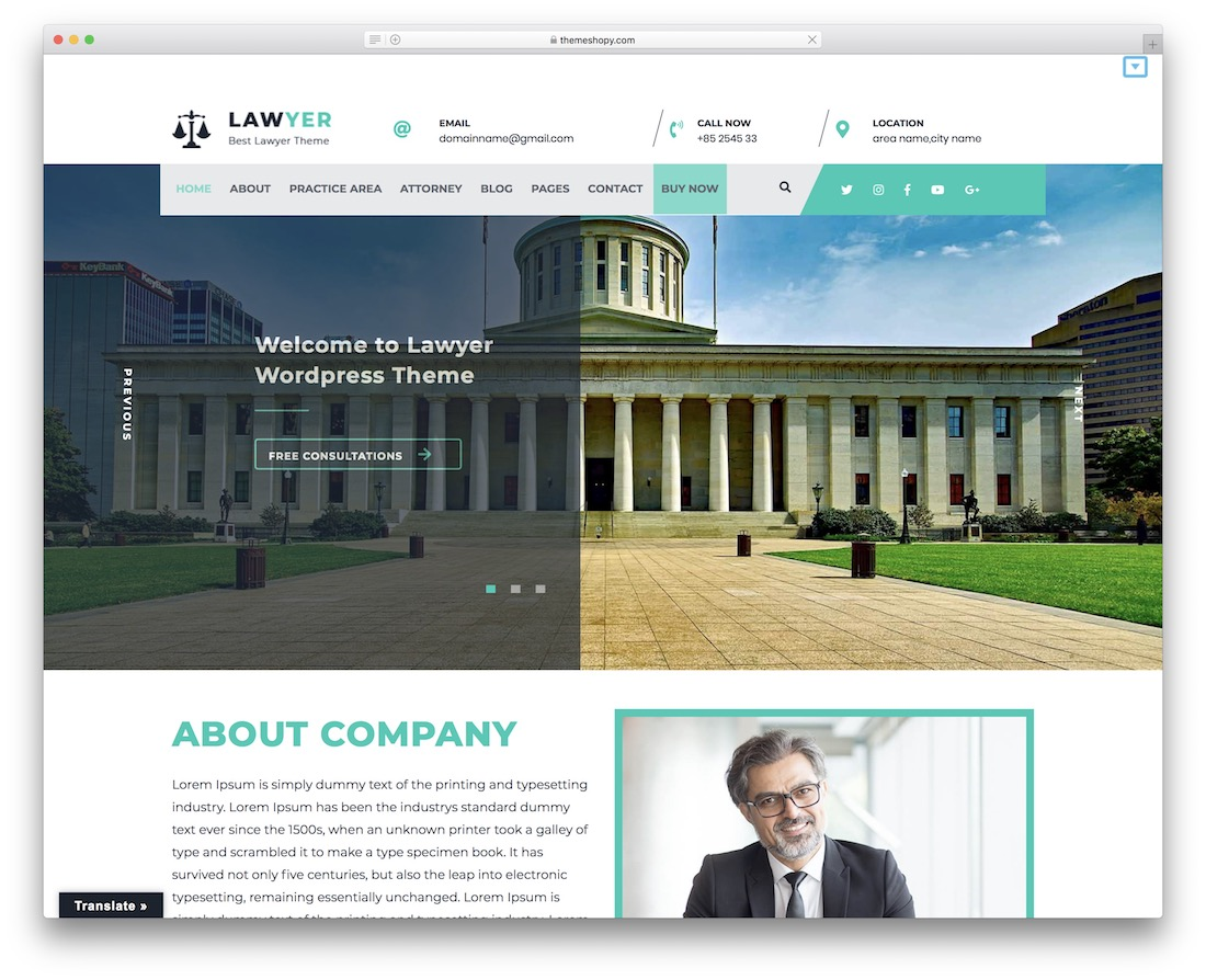 lawyer lite free wordpress theme