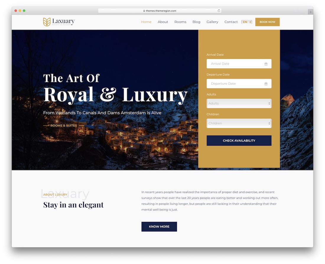laxuary hotel booking wordpress theme