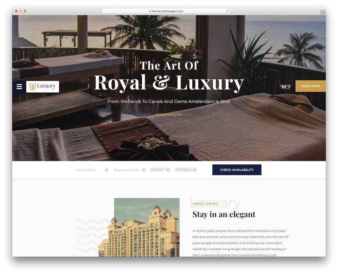 laxuary hotel wordpress theme