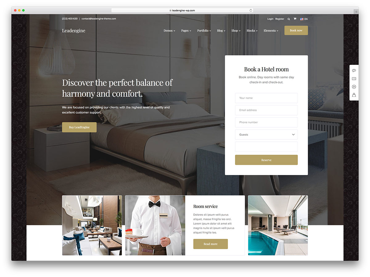 Lead engine- theme wordpress hotel