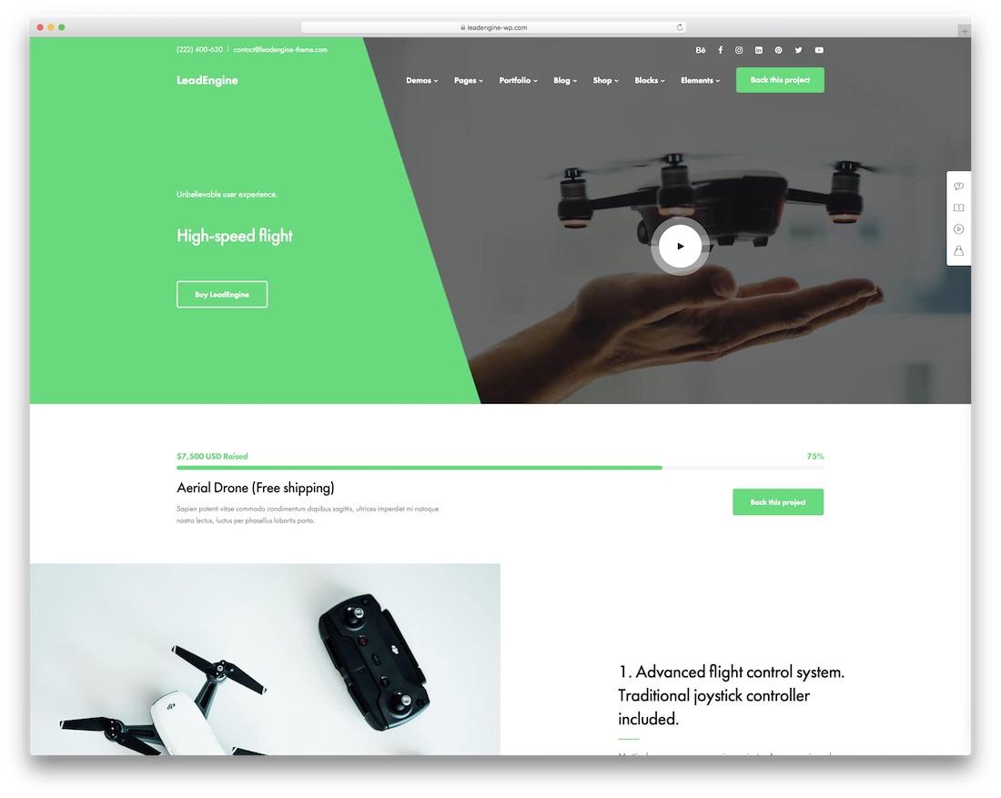 leadengine crowdfunding wordpress theme