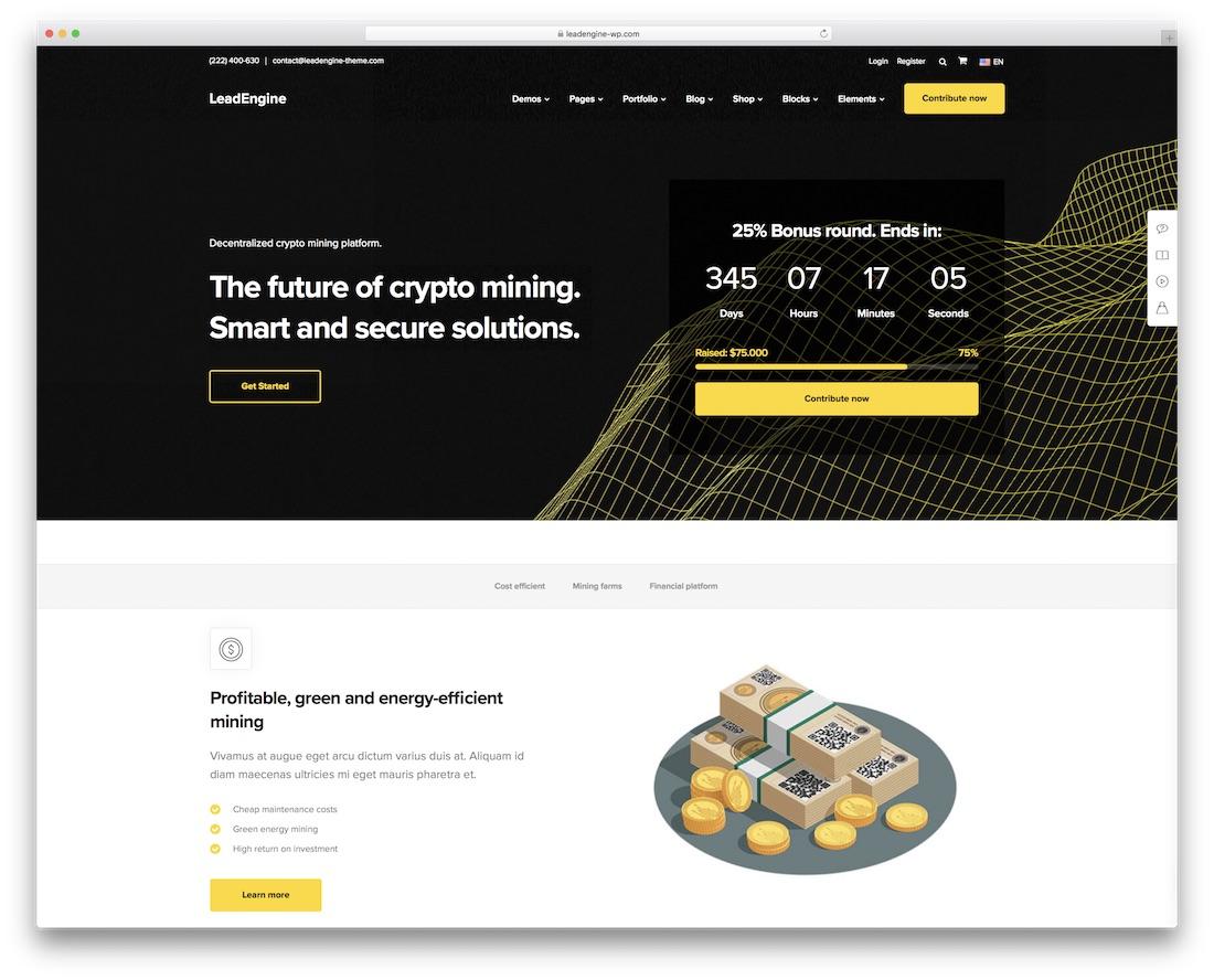 leadengine cryptocurrency wordpress theme