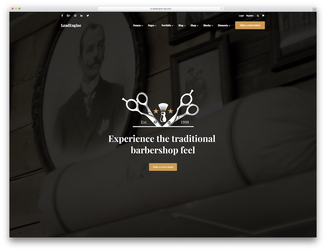 leadengine hair salon wordpress theme