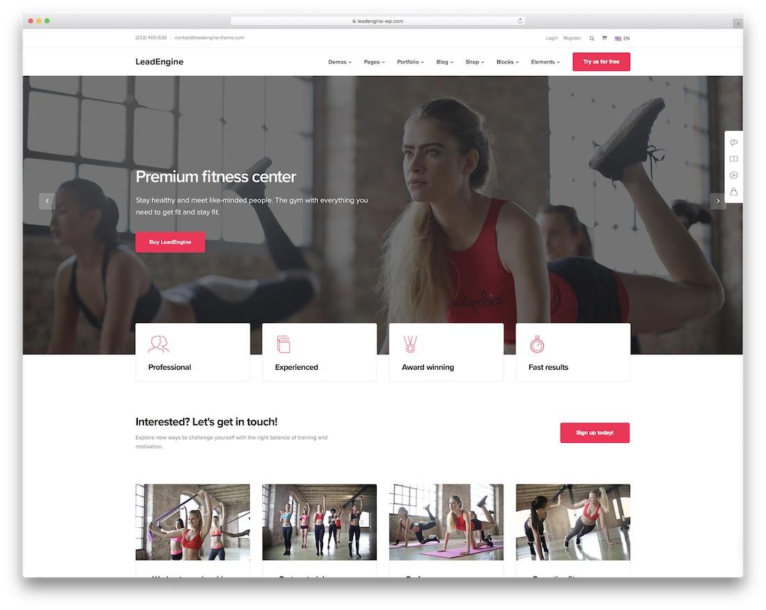 leadengine wordpress fitness theme