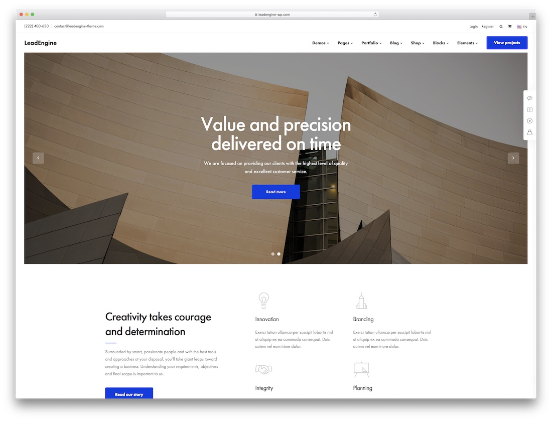leadengine wordpress theme for architects