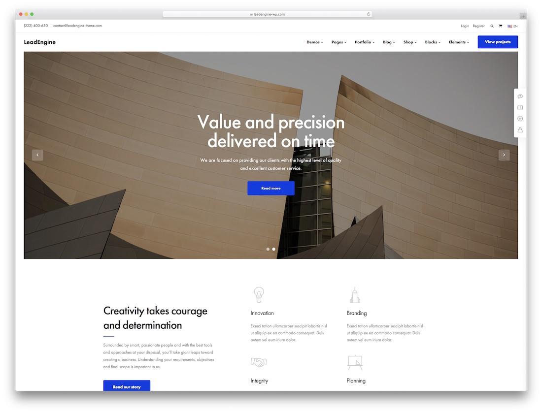 leadengine wordpress theme for architects