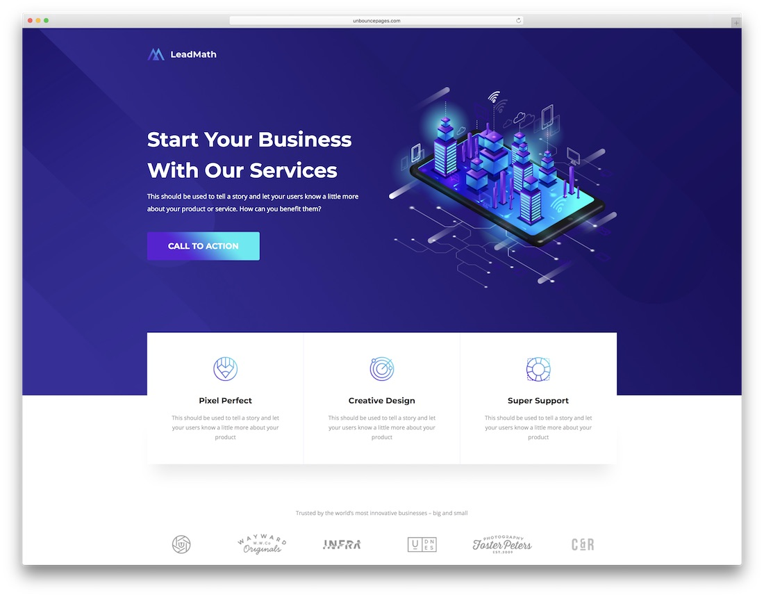 leadmath unbounce landing page template