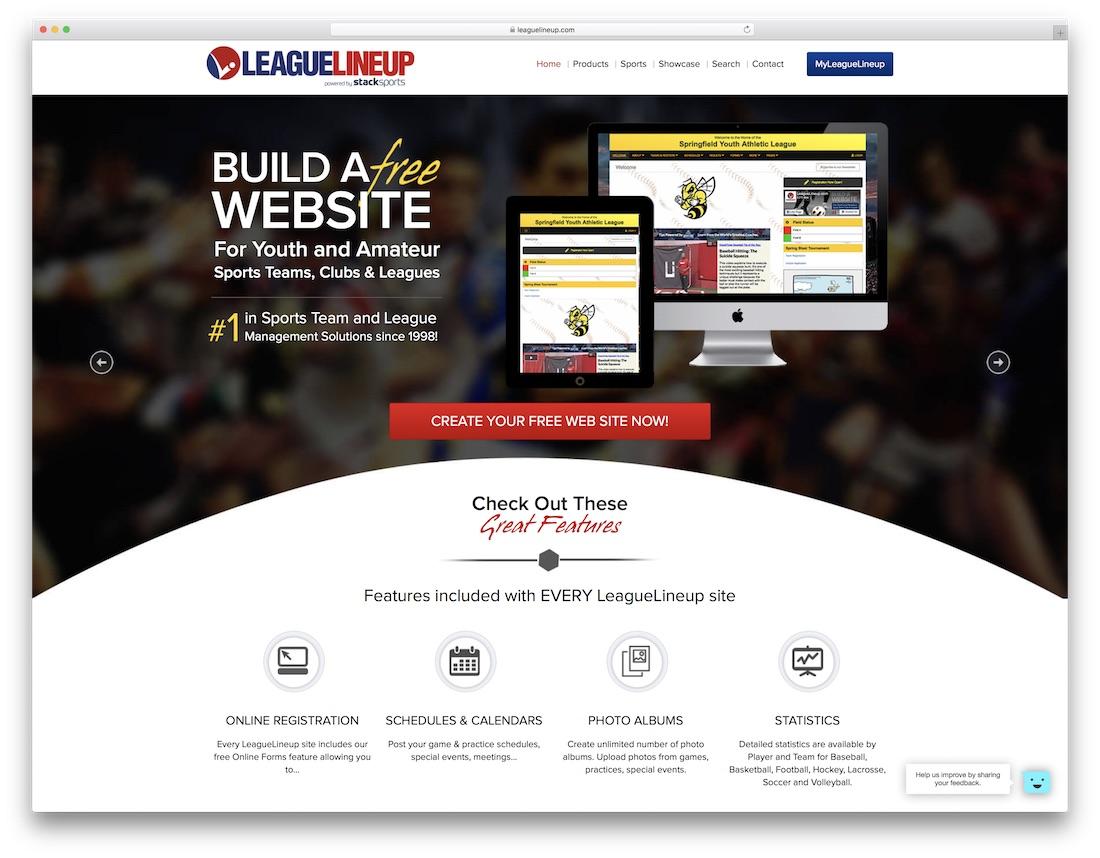 leaguelineup sports website builder