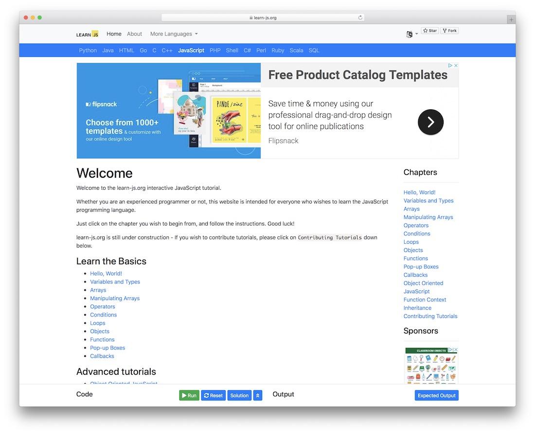 learn js interactive tutorial