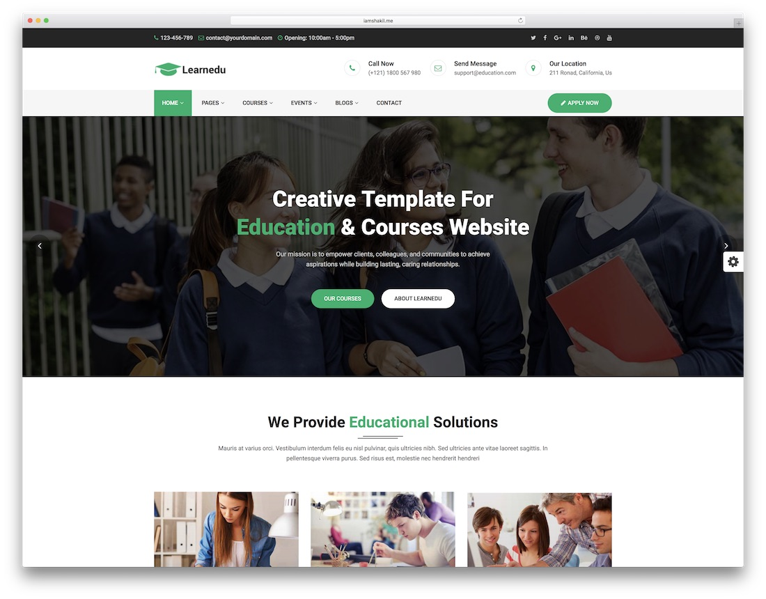Learnedu school website template