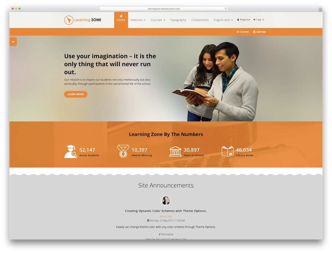 learning zone moodle bootstrap template