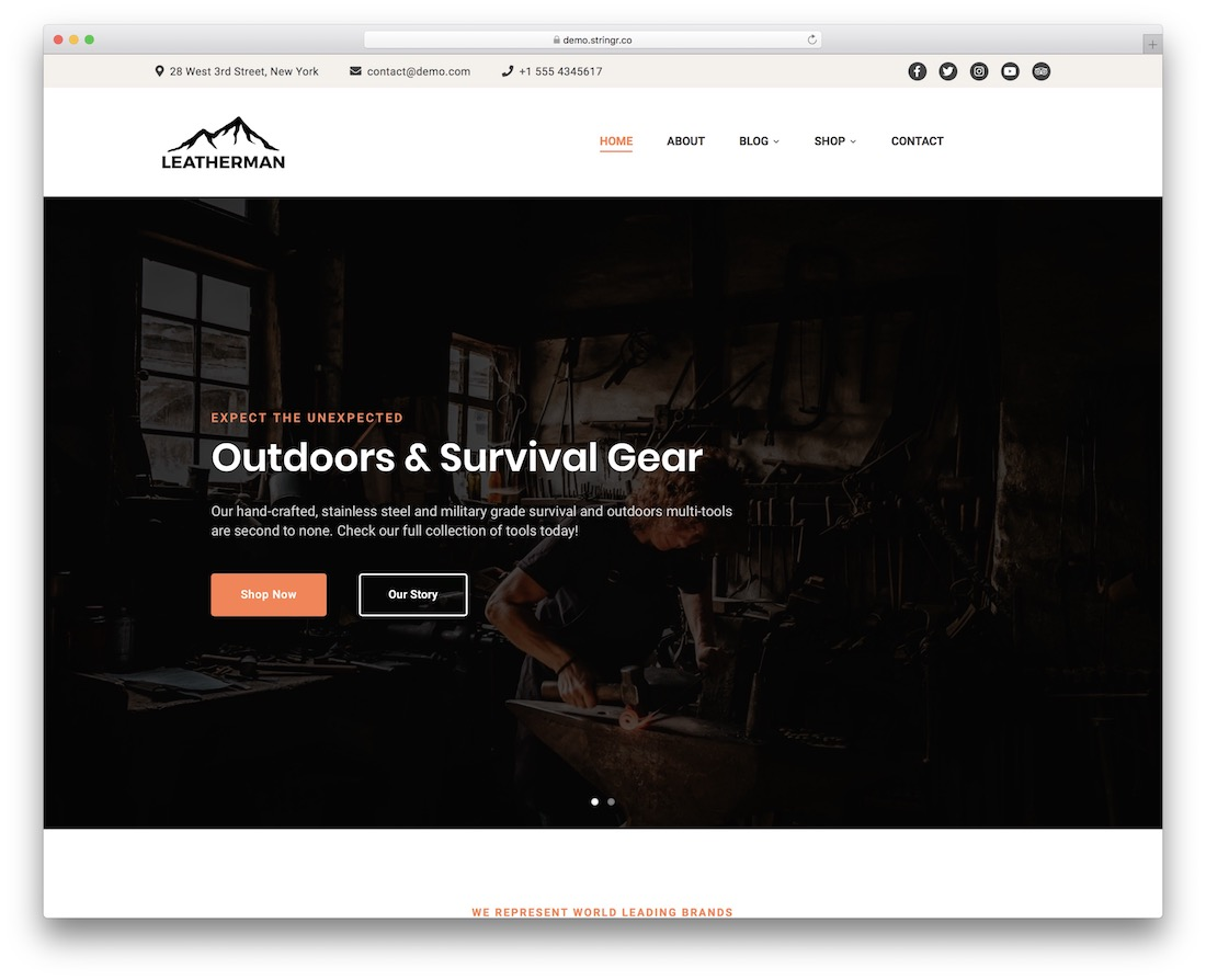 leatherman wordpress fishing theme