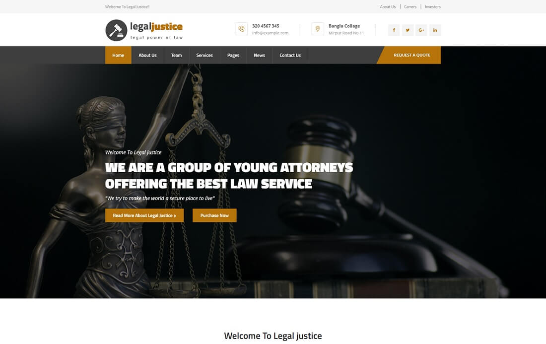 legal justice HTML lawyer website template