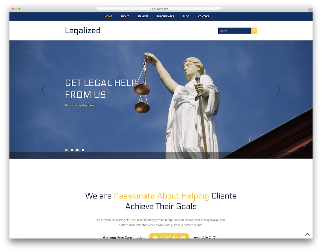 legalized free lawyer website template