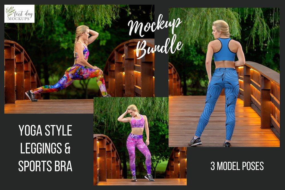 leggings sports bra mockup template bundle